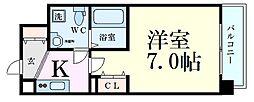 Osaka Metro谷町線 南森町駅 徒歩7分の賃貸マンション 6階1Kの間取り