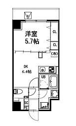 都営新宿線 曙橋駅 徒歩4分の賃貸マンション 4階1DKの間取り