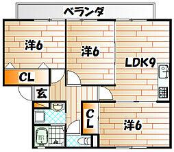 アベニュー中井A棟[2階]の間取り