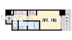 エスリード神戸兵庫駅マリーナスクエア 3階1Kの間取り