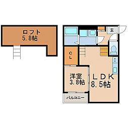 愛知県名古屋市中川区十番町3丁目の賃貸アパートの間取り