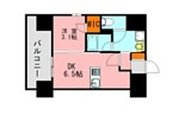 JR鹿児島本線 博多駅 徒歩21分の賃貸マンション 13階1DKの間取り