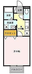 愛知県豊田市若林西町上ノ山の賃貸アパートの間取り