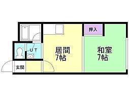 スリーエーマンション3 2階1DKの間取り