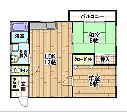 福岡県北九州市小倉北区篠崎5丁目の賃貸マンションの間取り