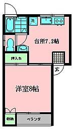 サンベルデあすかII 2階1DKの間取り