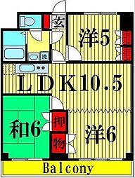 東京都足立区西竹ノ塚2丁目の賃貸マンションの間取り