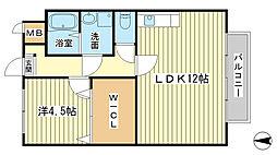 兵庫県姫路市飾磨区付城2丁目の賃貸アパートの間取り