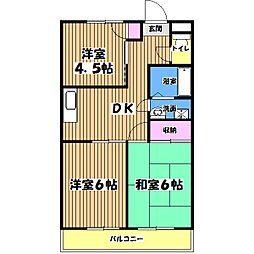 東京都福生市加美平2丁目の賃貸マンションの間取り