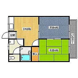 福岡県中間市扇ヶ浦4丁目の賃貸アパートの間取り