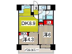 西川口朝日マンション[602号室]の間取り