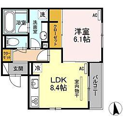 広島県福山市三之丸町の賃貸アパートの間取り