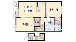JR赤穂線 坂越駅 徒歩6分の賃貸アパート 2階2LDKの間取り