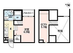 名古屋市営東山線 八田駅 徒歩7分の賃貸アパート 2階1SKの間取り