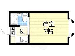 シティライフ高田 2階1Kの間取り