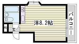 JR播但線 香呂駅 徒歩1分の賃貸マンション 3階ワンルームの間取り