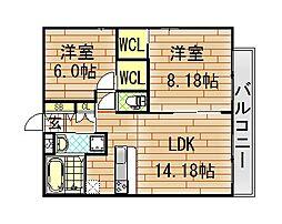 フェリスコート若江北町I[3階]の間取り