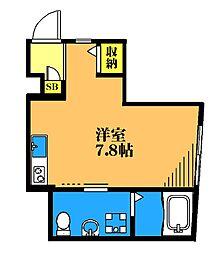 MOHIMACHI 1階ワンルームの間取り
