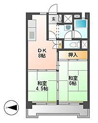 中駒九番団地2号棟[10階]の間取り