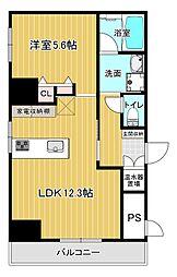ロータリーコーポ東高津 4階1LDKの間取り