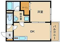 メゾンドリーム藤井寺 2階1DKの間取り
