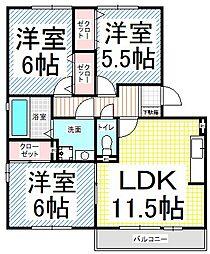ピュアハウス桜ヶ岡[2階]の間取り