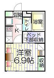 神奈川県横浜市南区別所4丁目の賃貸アパートの間取り