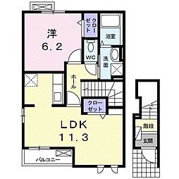 JR山陽本線 新下関駅 7kmの賃貸アパート 2階1LDKの間取り