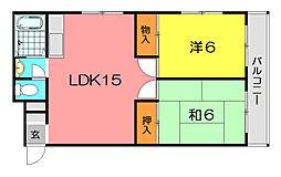 松濤園ビル1号棟[3階]の間取り