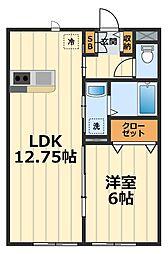 神奈川県大和市中央林間5丁目の賃貸アパートの間取り