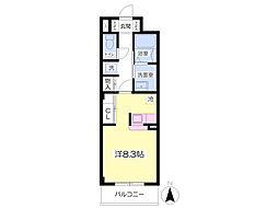 JR東北本線 福島駅 バス15分 鳥谷野扇田下車 徒歩7分の賃貸マンション 5階ワンルームの間取り