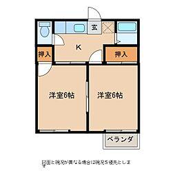 長野県佐久市長土呂の賃貸アパートの間取り