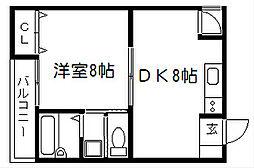 サンハウス紫野[301号室]の間取り