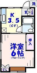 ハイコーポ本八幡[203号室]の間取り
