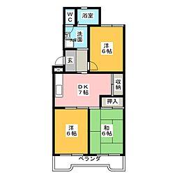 野白ガーデンハイツ[2階]の間取り