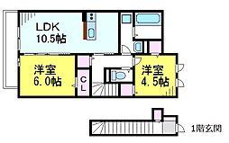 JR中央線 東小金井駅 徒歩6分の賃貸アパート 2階2LDKの間取り