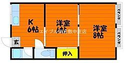 岡山県倉敷市川入の賃貸アパートの間取り