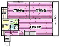 広島県広島市南区向洋本町の賃貸マンションの間取り