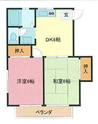 埼玉県さいたま市緑区原山2丁目の賃貸アパートの間取り