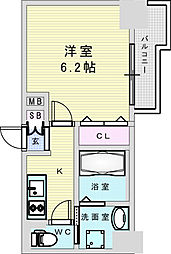 Osaka Metro御堂筋線 新大阪駅 徒歩8分の賃貸マンション 14階1Kの間取り