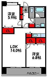 リジェール箱崎[8階]の間取り