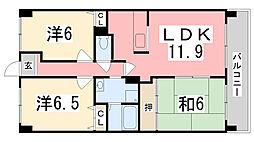 兵庫県姫路市青山北3丁目の賃貸マンションの間取り