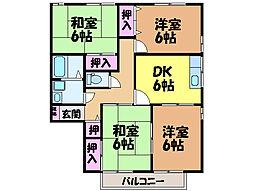 愛媛県松山市東石井4丁目の賃貸アパートの間取り