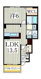 コージーレジデンスIII 1階1LDKの間取り