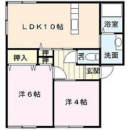 佐賀県唐津市山下町の賃貸アパートの間取り