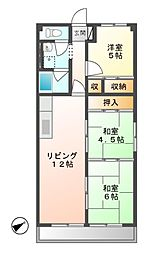 岐阜県可児市下恵土の賃貸マンションの間取り