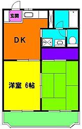 静岡県浜松市中区葵西6丁目の賃貸マンションの間取り