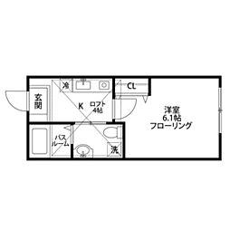 ビックオレンジ横浜西谷A棟[2C号室]の間取り