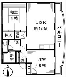 神奈川県座間市東原2丁目の賃貸マンションの間取り