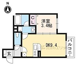 Bonheur hale 1階1DKの間取り